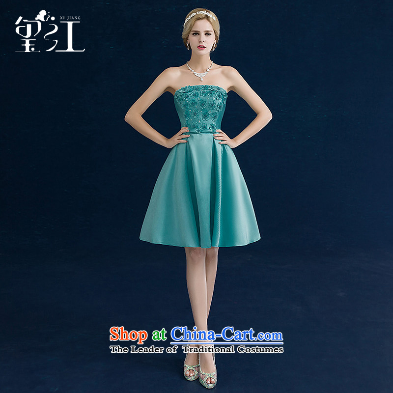 Jiang bride wedding dresses seal bows services 2015 autumn and winter new tri-color and chest, Sau San video thin short banquet dinner dress dark green tailored
