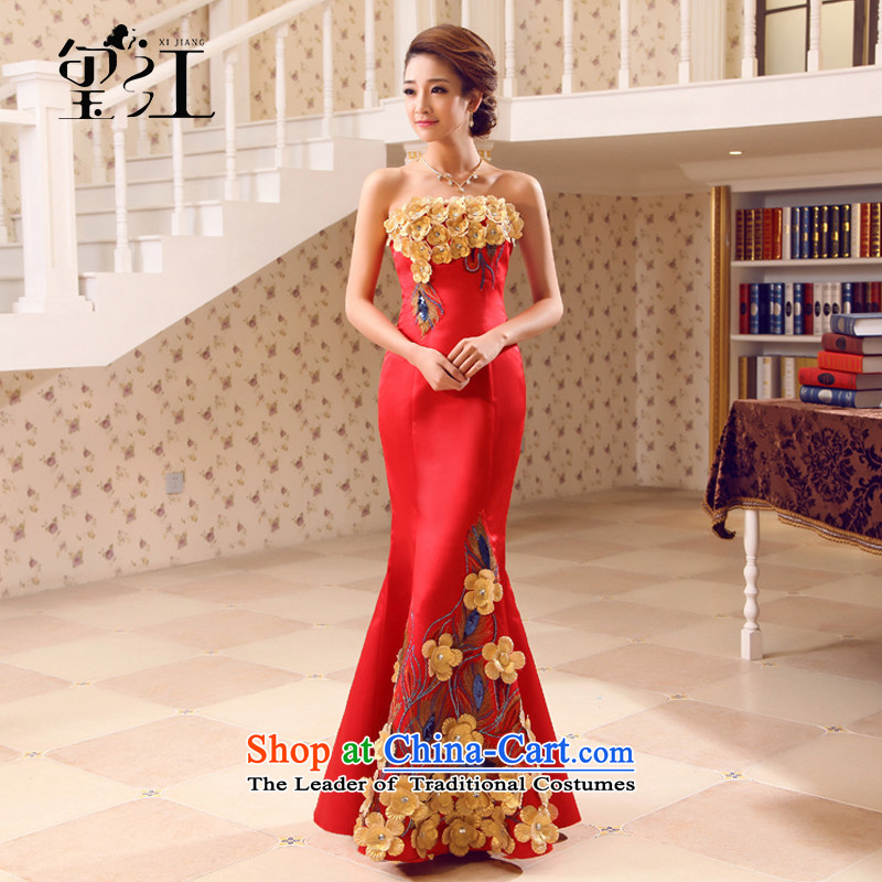 Seal the bride dress dress Jiang 2015 autumn and winter Korean anointed chest bows to red tail light dress Sau San video thin crowsfoot wedding dress girl to align the zipper�M