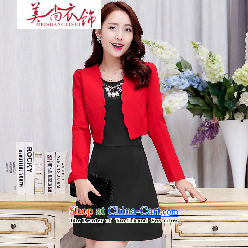 The United States is still loaded autumn and winter clothing Korean new large red two kits dresses small dress dress back to door onto the bride bows dress of red and black?L