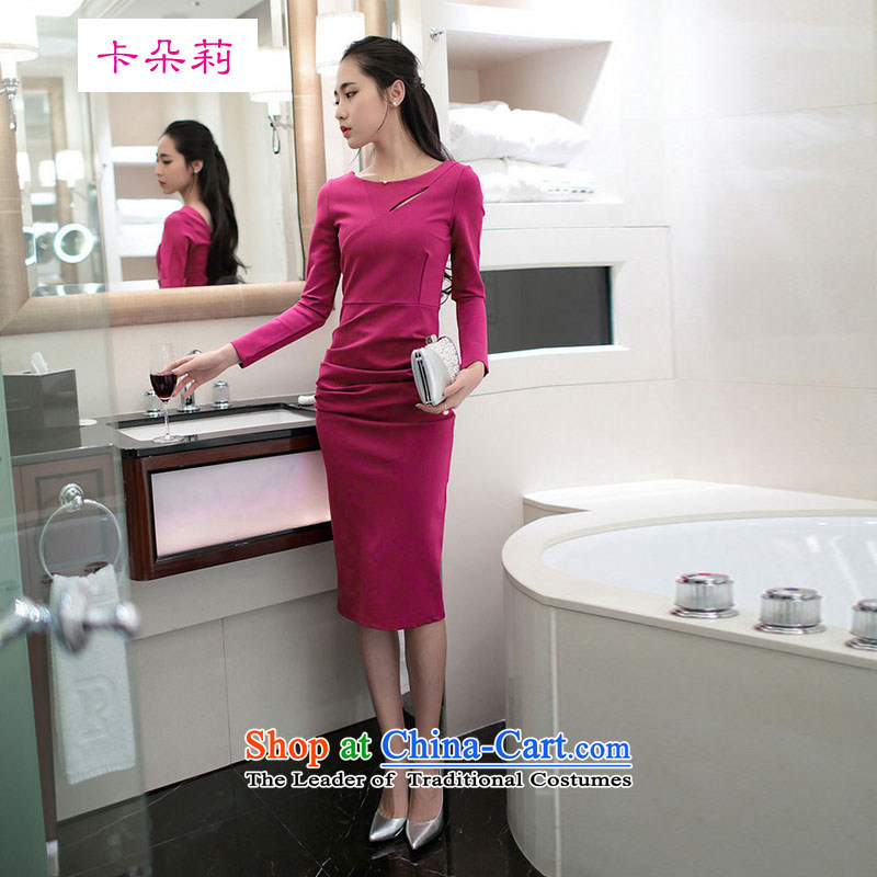 Card flower lei 2015 new Korean temperament and sexy Sau San long-sleeved back forming the dresses engraving the forklift truck dress rose red聽M