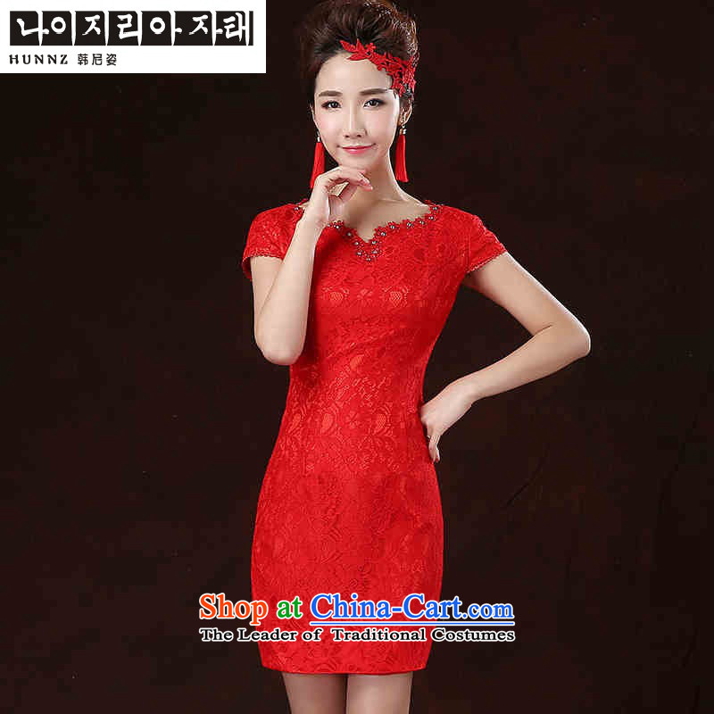 The spring and summer of 2015 New HANNIZI) Bride wedding dress evening dress short of ethnic saika Red Red?M