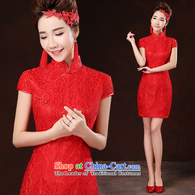 ?     ?Toasting champagne HANNIZI Services 2015 new spring and summer stylish and simple bride dress dress Sau San ethnic red?XL