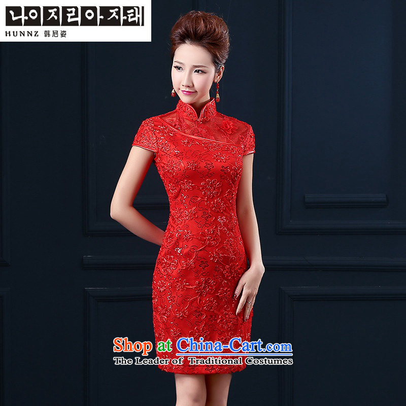 Retro-2015 brides HANNIZI wedding dress banquet dinner dress short, simple bows service     RED S