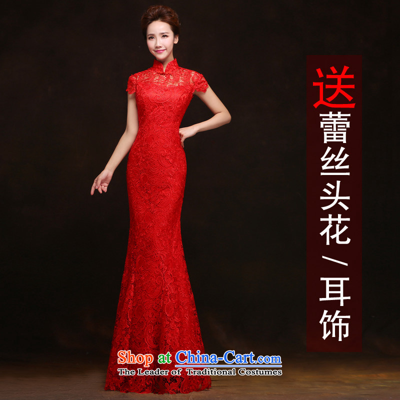 Toasting champagne HANNIZI Services 2015 new red minimalist, Sau San bride dress banquet evening dresses Red straight-up long M