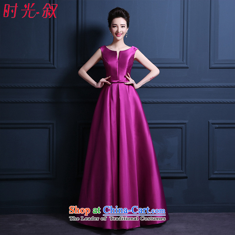 Time Syrian brides wedding dress satin bows services bridesmaid evening dresses Ballroom 1 field shoulder stylish multi colored dress skirt violet long XXL
