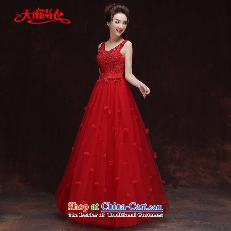 Rain-sang yi 2015 new marriage yarn Korean modern red shoulders V-Neck lace on large numbers of pregnant women dress LF204 video thin red?L