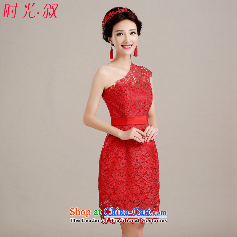 Time Syrian evening dresses 2015 new Korean Red shoulder, banquet service marriages fall bows stylish bridesmaid female red?XL