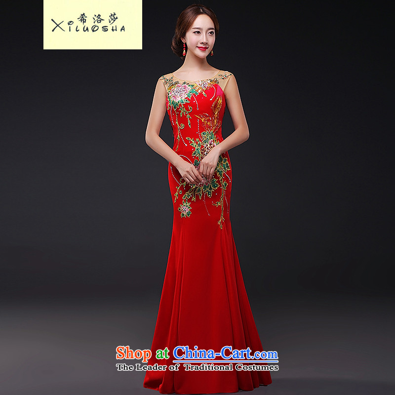 Hillo XILUOSHA) Lisa (long gown shoulders bride bows services red crowsfoot dress embroidery Female dress will 2015 New Red?XL