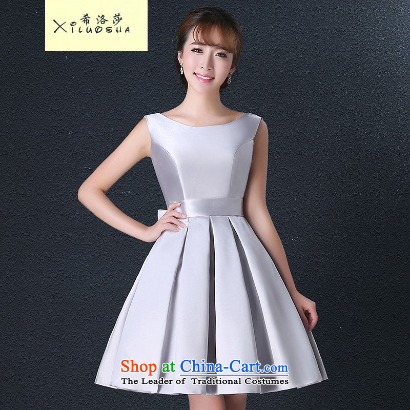 Hillo Lisa (XILUOSHA) banquet dinner dress short, moderator dress girl marries a drink service hip little dress satin silver new 2015?M