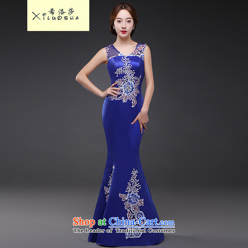 Hillo Lisa (XILUOSHA) evening dresses long gown crowsfoot bride dresses bows moderator girl marries a drink service 2015 new autumn blue�XL