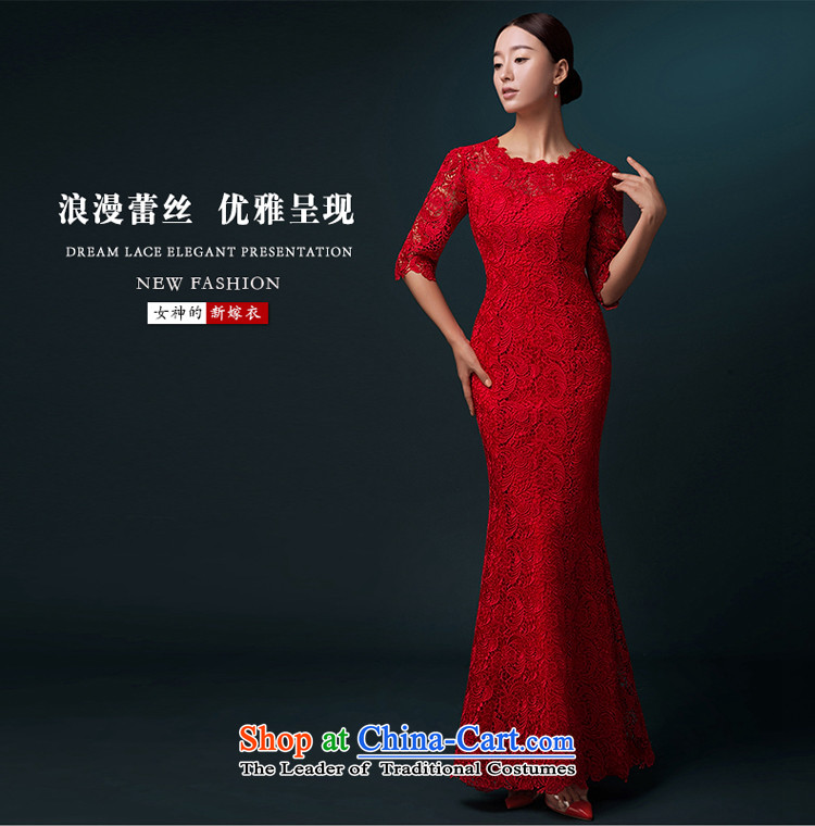Hillo XILUOSHA) bridal dresses Lisa (Red Dress bows service banquet long gown crowsfoot long-sleeved married bows qipao lace Red 7-sleeved XXL picture, prices, brand platters! The elections are supplied in the national character of distribution, so action, buy now enjoy more preferential! As soon as possible.