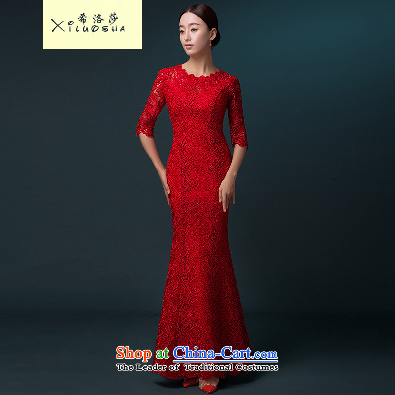 Hillo XILUOSHA) bridal dresses Lisa (Red Dress bows service banquet long gown crowsfoot long-sleeved married bows qipao lace Red 7-sleeved XXL