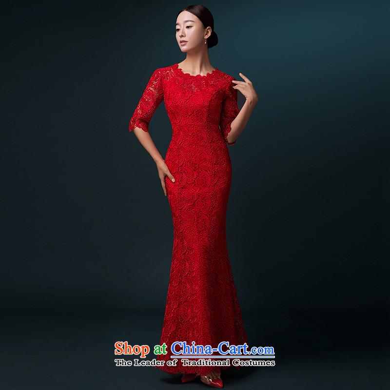 Hillo XILUOSHA) bridal dresses Lisa (Red Dress bows service banquet long gown crowsfoot long-sleeved married bows qipao lace Red 7-sleeved XXL, HILLO Lisa (XILUOSHA) , , , shopping on the Internet