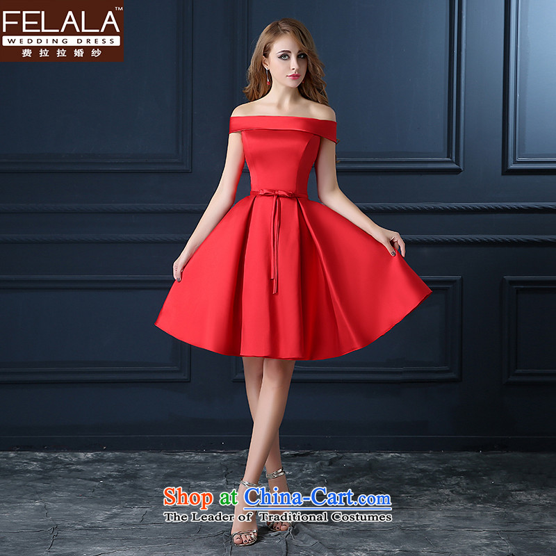 Ferrara 2015 Service Bridal Fashion short toasting champagne evening dresses bon bon video thin Sau San wedding wedding dress a field in summer and autumn red one shoulder field shoulder燲L