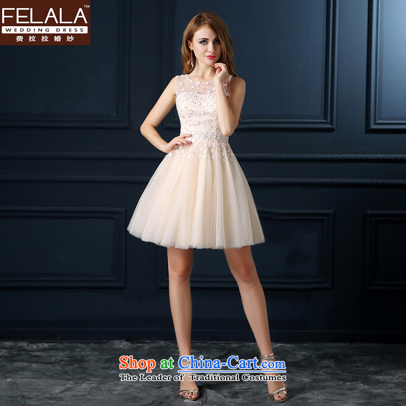 Ferrara 2015 Service Bridal Fashion toasting champagne evening dress short of Sau San wedding wedding dress shoulders spring and summer flowers champagne color L