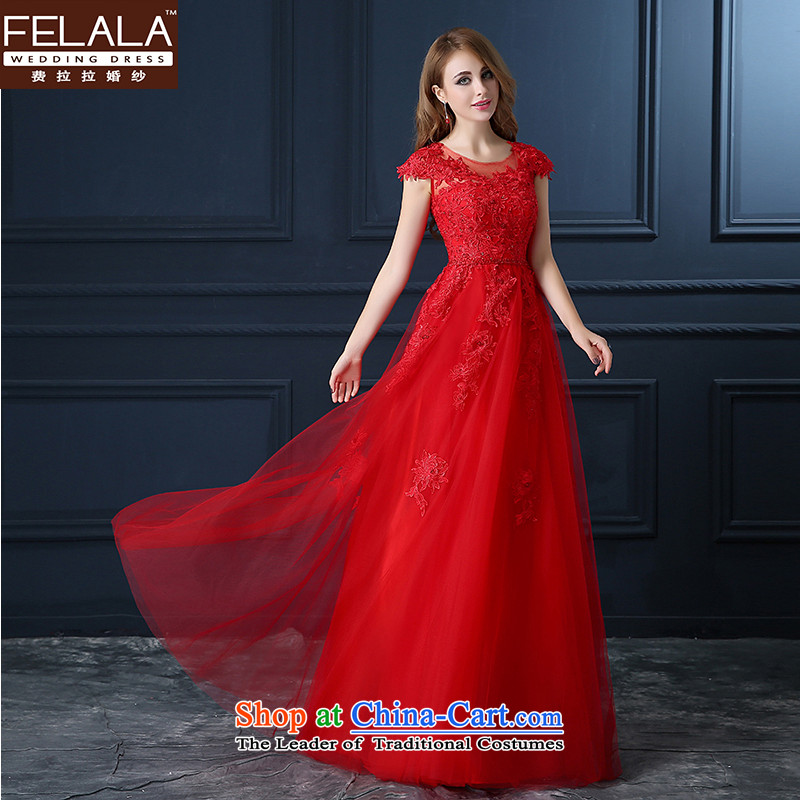 Ferrara 2015 Service Bridal Fashion toasting champagne evening dress short of Sau San wedding wedding dress shoulders spring and summer flowers red�L