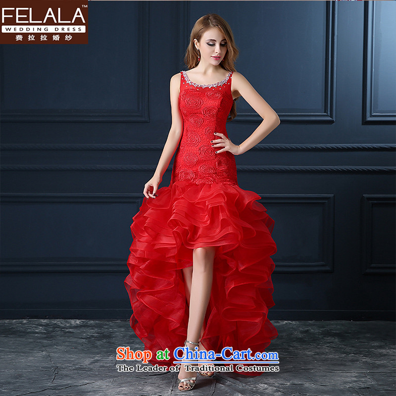 Ferrara bride lace bows services shoulder back water drilling evening dresses long summer and fall of 2015 New V-Neck video thin pregnant women high moderator waist dress red red�XL
