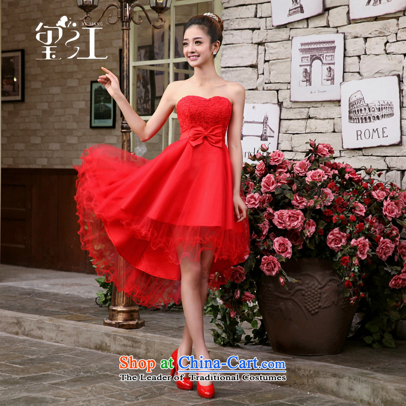 Jiang dress seal 2015 Autumn The new bride bows and chest short service red, banquet dress marriage bridesmaid services fall inside new products purple XL