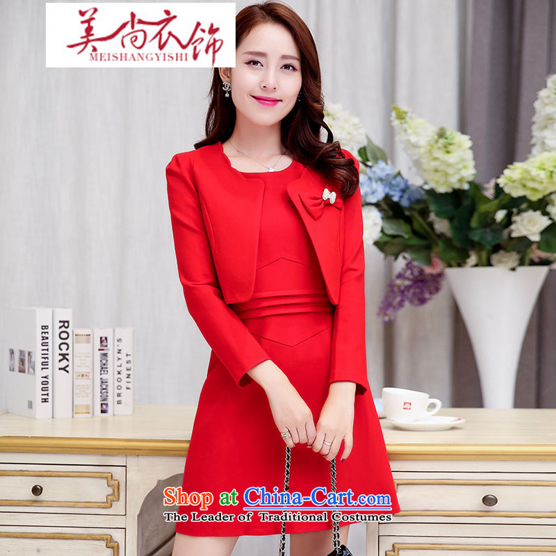 The United States is still fall/winter clothing and accessories for women new stylish Sau San two kits dresses vocational kits wedding dress bows back to door onto the Chest Flower large red?XL