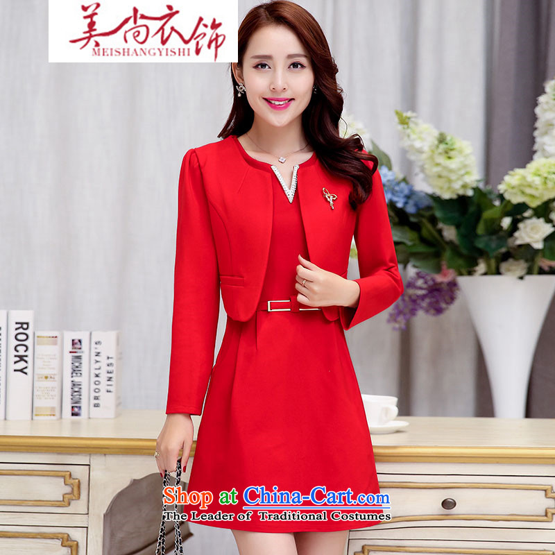 The United States is still clothing and accessories kit 2015 Autumn stylish women New Sau San wild two kits short-haired? jacket dresses female kit red�XL