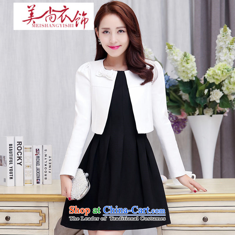 The United States is still clothing sleeveless dresses two kits of Sau San bow tie new autumn 2015 bridesmaids bows dresses two kits Black and White?XXL