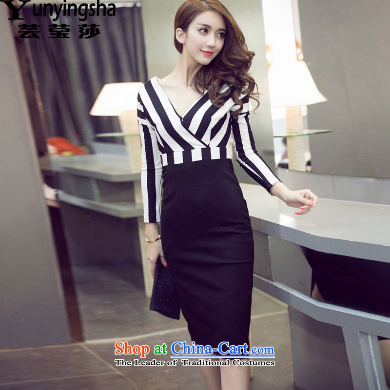 Yun-ying sa 2015 Autumn replacing new long-sleeved sexy beauty girl dresses L9575 black M