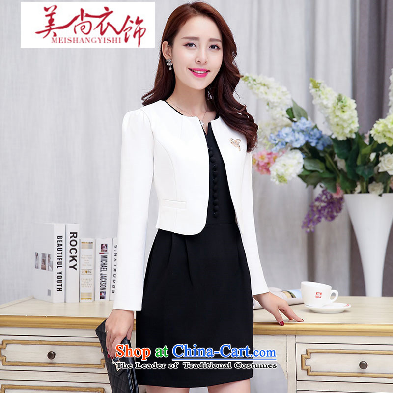 The United States is still�2015 Autumn clothing new boutique female Korean stylish elegance kit two dresses dress with black and white Chest Flower�L