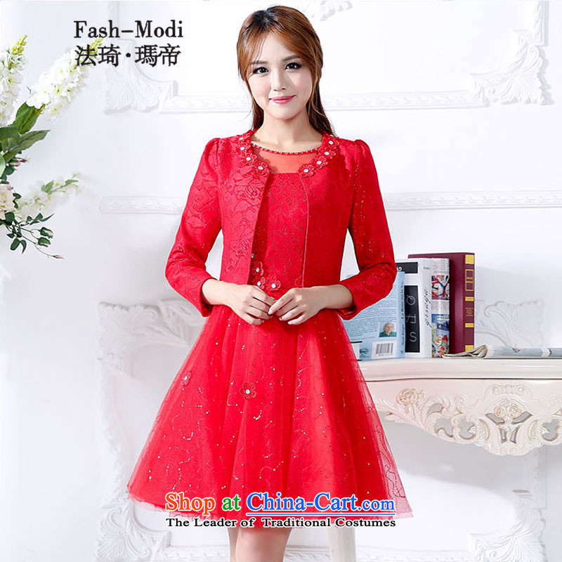 Law Chi Princess Royal autumn and winter new service bridal dresses bows to women's door Sau San bridesmaid dress video thin betrothal larger bon bon Skirts 2 piece skirt kit red?XXL
