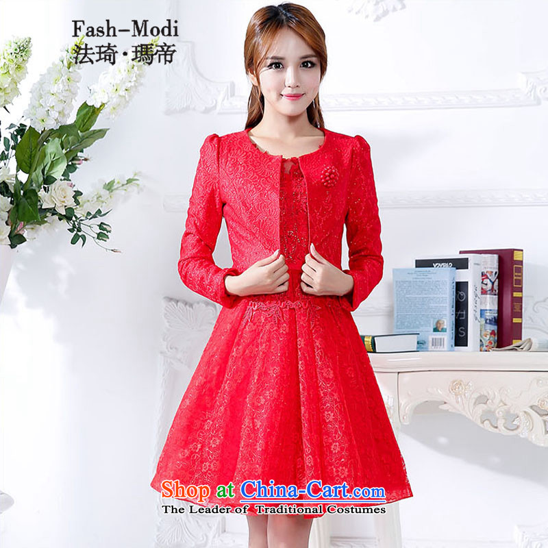 Law Chi Princess Royal Wedding dress bride services bows female bridesmaid dress autumn and winter New Sau San video thin dress bon bon skirt + 2-piece set small jacket red聽L