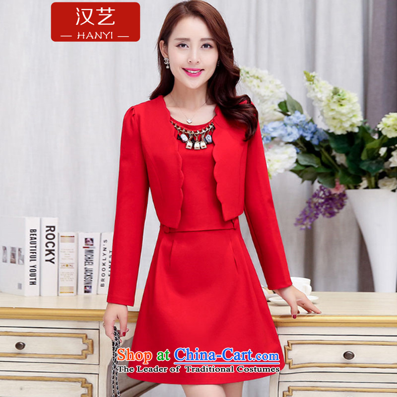 Han-yi 2015 autumn and winter Chinese Short, small dress dinner drink service brides marriage back door bridesmaid dress red video thin Sau San suits skirts red?XL