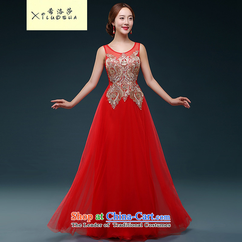 Hillo XILUOSHA) Lisa (bows service bridal dresses married long evening dresses banquet dress red autumn 2015 new wedding dresses red XXL