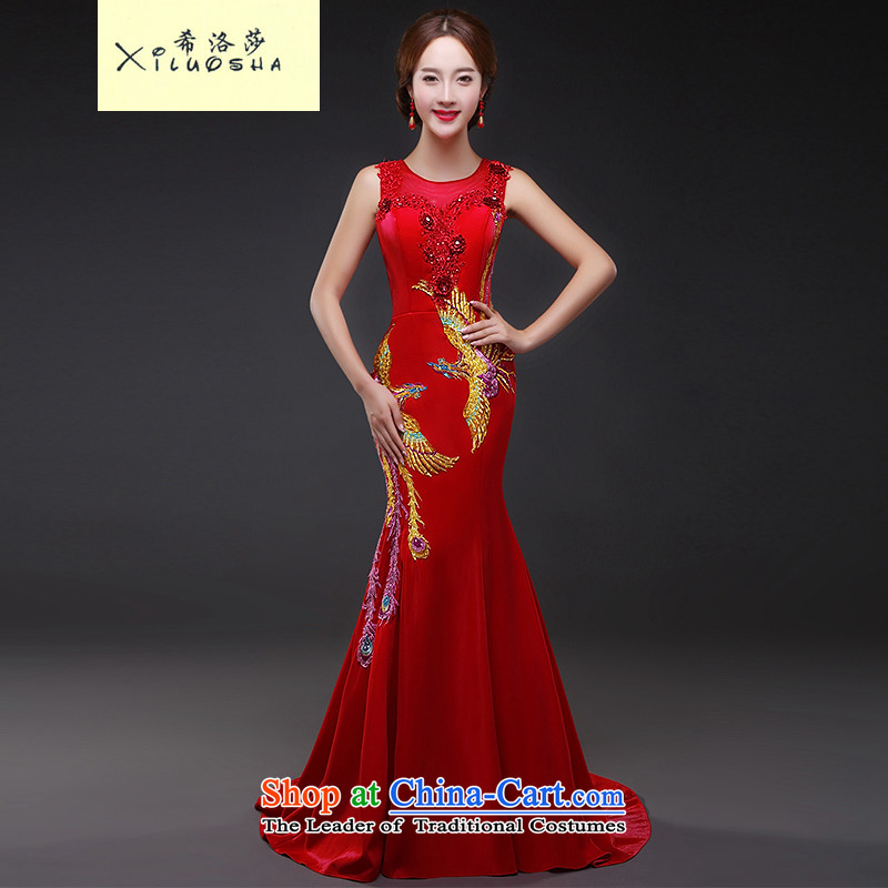 Hillo XILUOSHA_ bridal dresses Lisa _tail red marriage services crowsfoot embroidery bows shoulders banquet evening dresses long 2015 New Red聽L
