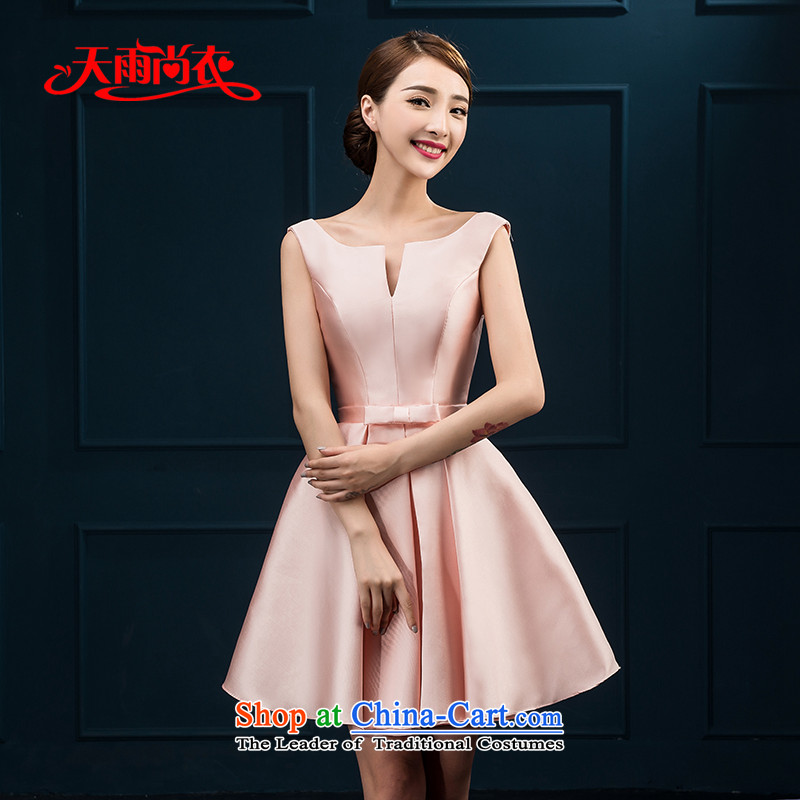 Rain-sang yi bridesmaid dresses autumn 2015 new Korean shoulders short of marriages will dress LF227 dinner drink meat pink?XL