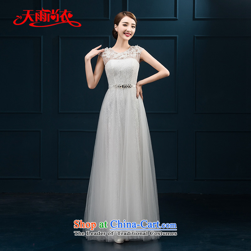 Rain Coat�2015 autumn is the new Korean shoulders and sexy long bridesmaid dresses marriages dinner will dress LF228 white�S