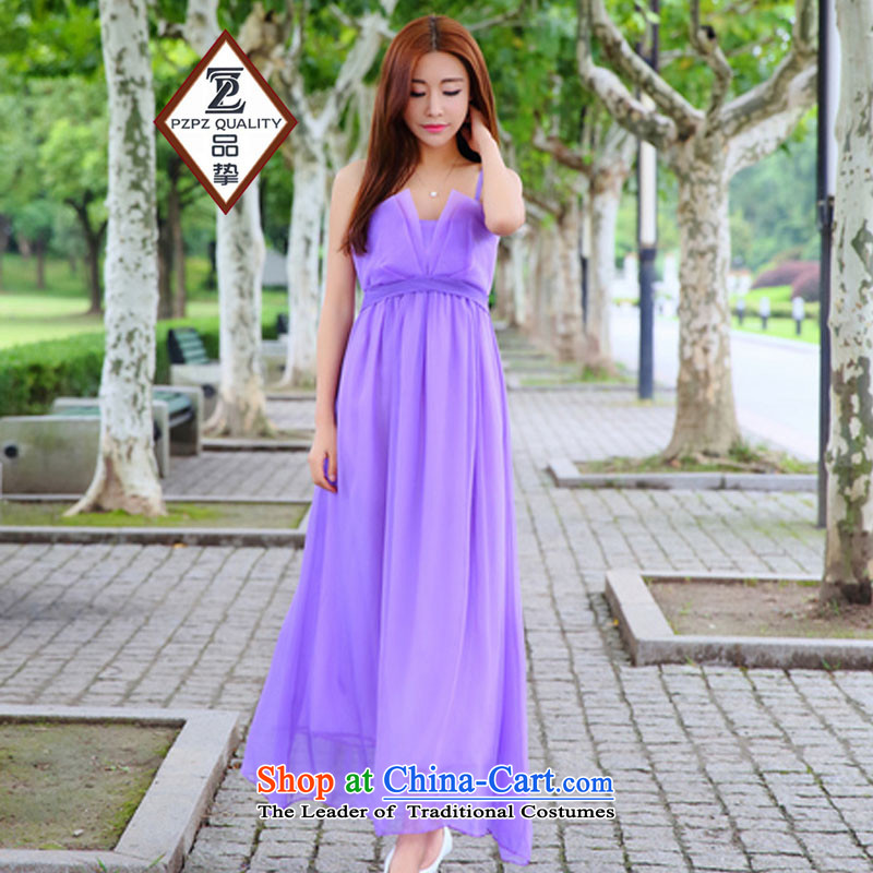 No. of 2015 bridesmaid sister dress dresses retro gliding temperament goddess long skirt sin purple?L
