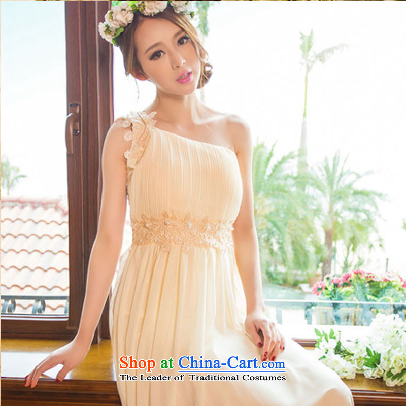 No. of 2015 sweet temperament OL banquet bridesmaid married Beveled Shoulder dresses female long skirt dress white left shoulder strap with invisible?S