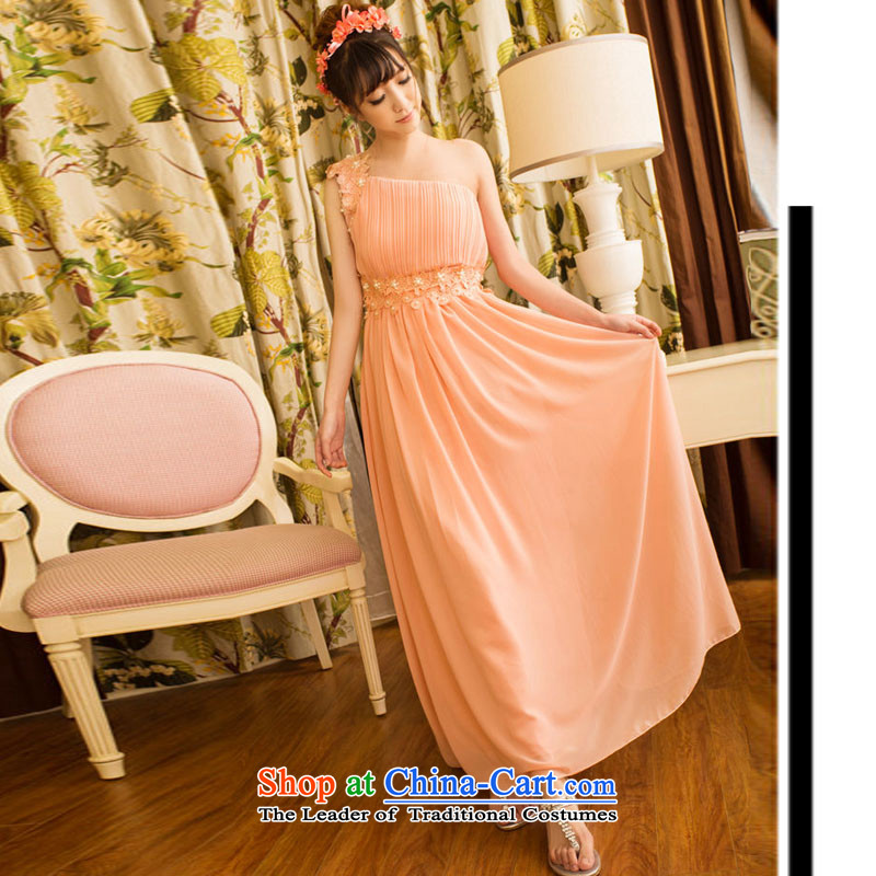 Andro ya 2015 sweet temperament OL banquet bridesmaid married Beveled Shoulder dresses long skirt pink dresses girl left shoulder strap with invisible�M