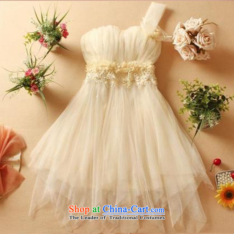 No. of 2015 shoulder short of flowers under bon bon small dress sister bridesmaid mission dress small moderator dress apricot are code