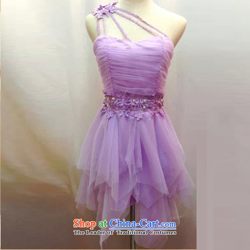 Andro 2,015 yuan temperament and three-dimensional flowers Beveled Shoulder shoulder irregular gauze bon bon skirt sister skirt bridesmaid skirt dress code are Violet