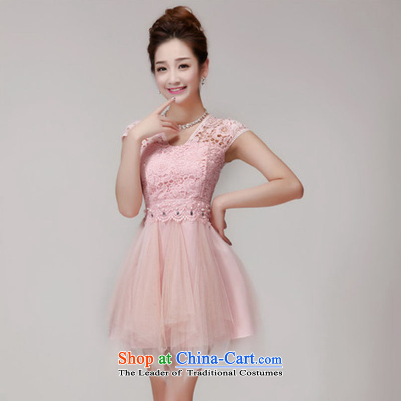 No. of 2015 lace hook spent manually staple pearl aristocratic dresses bon bon skirt temperament bridesmaid sister dress code is Pink