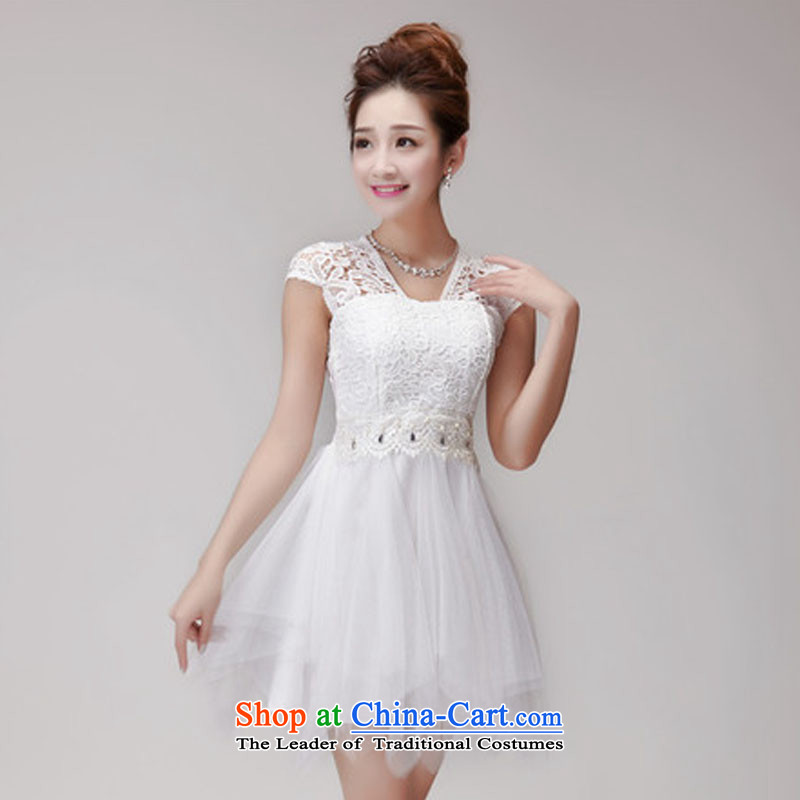 Andro ya 2015 lace hook spent manually staple pearl aristocratic dresses bon bon skirt temperament bridesmaid Sister White Dress Code Is