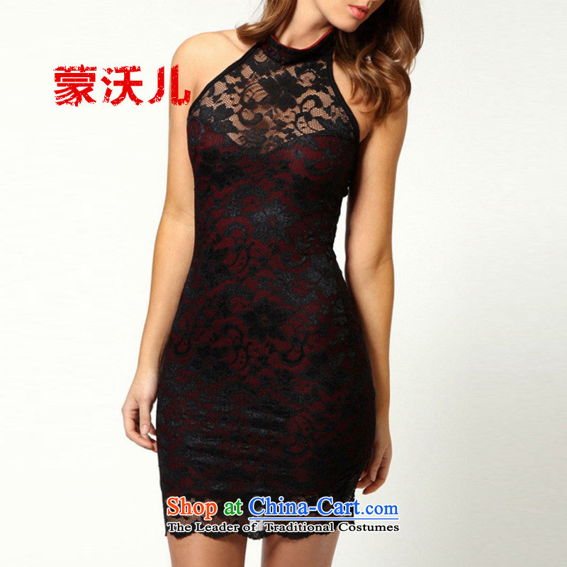 ?The new 2015-Monrovia Kosovo sleeveless lace sexy nightclubs small package and dress the skirt Black?XL