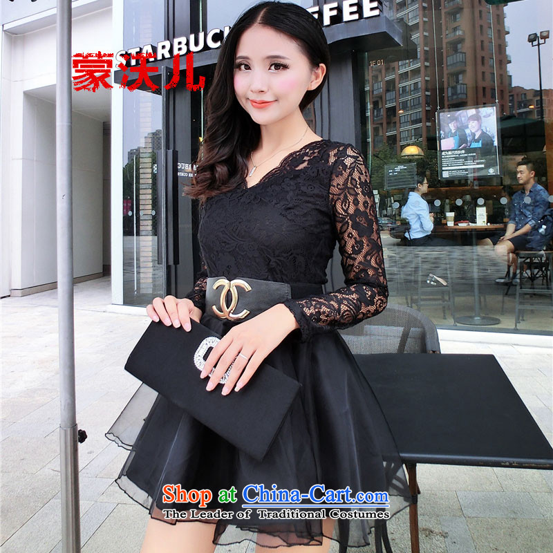 2015 Autumn-Monrovia Kosovo sexy new V-Neck lace stitching OSCE root yarn foutune bon bon dresses black M