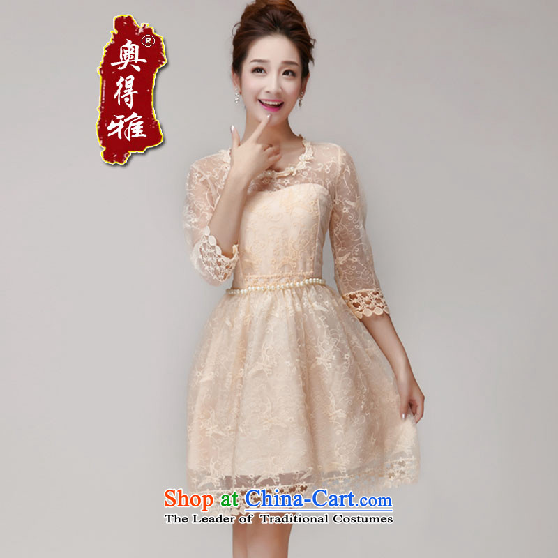 Andro ya 2015 Sau San Princess Pearl nail skirt dress champagne color and chest bridesmaid services sister small dress champagne color are code