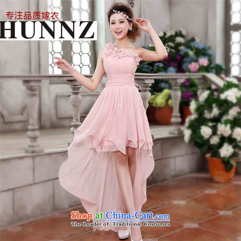 Hunnz sleeveless brides 2015 wedding dress Korean-style solid color shoulder short, banquet evening dresses Yuk-pink?L