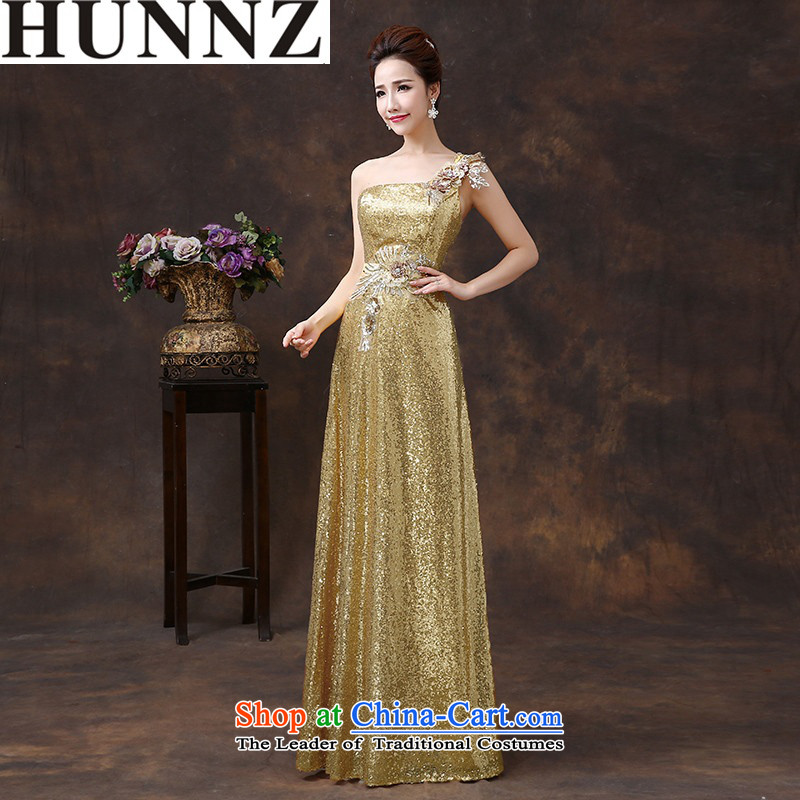 ?   ?Toasting Champagne Services 2015 new HUNNZ stylish Korean single shoulder length) Bride wedding dress bridesmaid services Champagne Gold?S