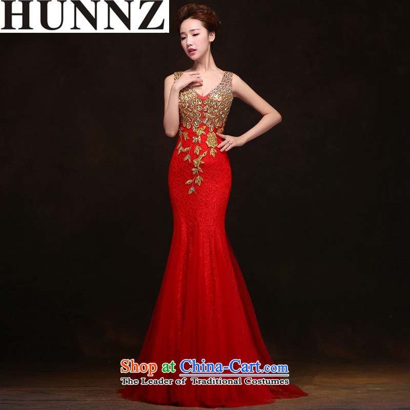 Toasting Champagne Services 2015 new HUNNZ stylish anointed chest wedding dress dress bride crowsfoot_ Red S