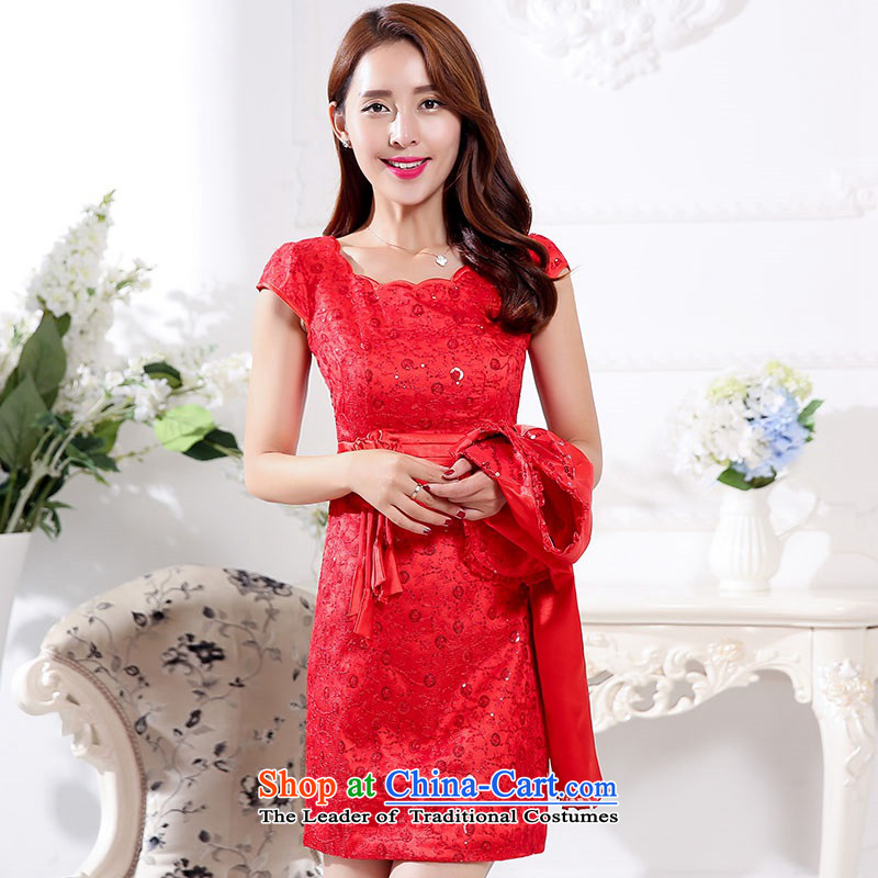 The 2015 autumn and winter new president two kits of red bridal dresses retro dress Sau San Banquet in long bows cheongsam look bridesmaid Services Services 1 red?XXXL