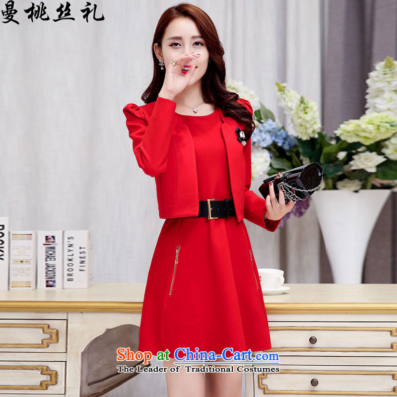 Cayman commercial population ceremony wedding dress women Fall_Winter Collections Korean minimalist two kits bride wedding dress bows back to door bridesmaids red red dress聽L