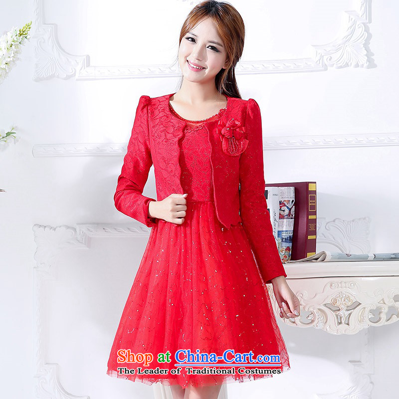 2015 Autumn and winter in the new president of the Red long two kits bridal dresses video thin banquet service     temperament princess skirt Fashion bows service performance dress 1 RED?M